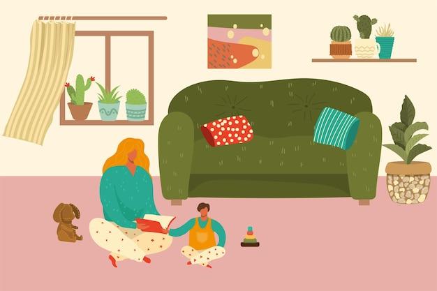 Moeder en baby huissamenstelling, vrouw leest boek aan kind, gezellige kamer, gelukkige familie, illustratie. moeder zorgt voor kind, appartement is veilig om te leven, vreugdevol moederschap.