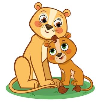 Moeder en baby leeuw cartoon karakter vectorillustratie