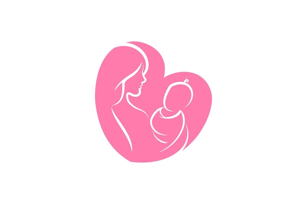 Moeder en baby logo vector symbool. moeder knuffelt haar kind logo sjabloon.