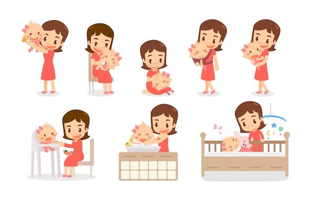 Moeder en baby meisje. moeder en baby in verschillende acties. liefdevolle familie.