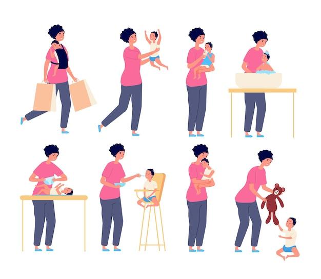 Moeder en baby. moeder zorgt voor kind, vlak moederschapskarakter. kleine peuter slaap spelen eten. vrouw met zoon of dochter vectorreeks. illustratie moederschap baby, familie kind en ouder moeder