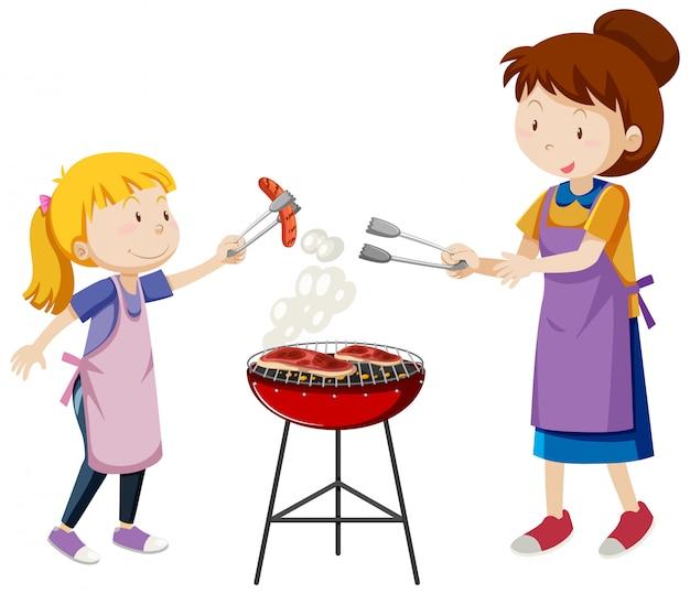 Moeder en dochter cartoon stijl geïsoleerd op een witte achtergrond