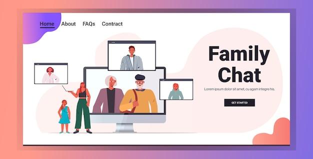 Moeder en dochter hebben virtuele ontmoeting met familieleden in webbrowservensters tijdens videogesprekcommunicatie kopie ruimte