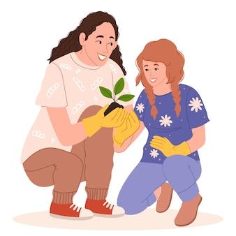 Moeder en dochter houden zich bezig met tuinieren