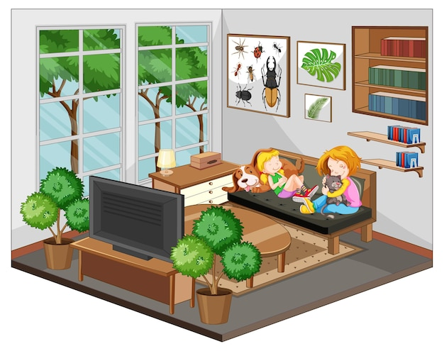 Moeder en dochter in de woonkamer met meubels