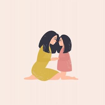 Moeder en dochter kijken elkaar in de ogen en houden handen vast