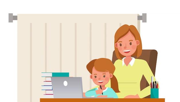 Moeder en dochter samen leren met computer karakter.