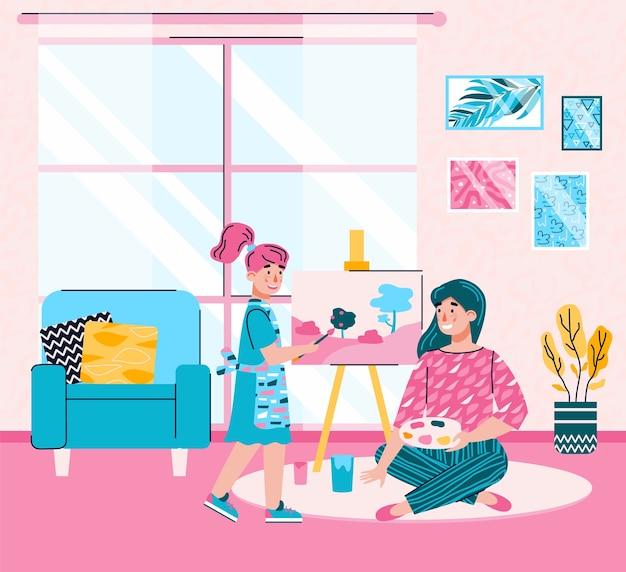 Moeder en dochter schilderen van een foto thuis - cartoon vrouw en kind met kunst palet en ezel tekenen van een landschap in gezellige kamer interieur, illustratie.