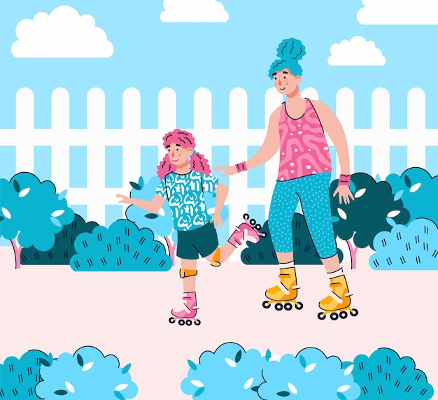 Moeder en dochter skate rollen samen cartoon
