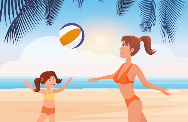 Moeder en dochter spelen bal op tropisch strandlandschap gezonde fitness op open lucht