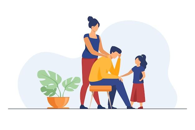 Moeder en dochter troosten boos vader. schouder aanraken, hand vasthouden, platte illustratie ondersteunen