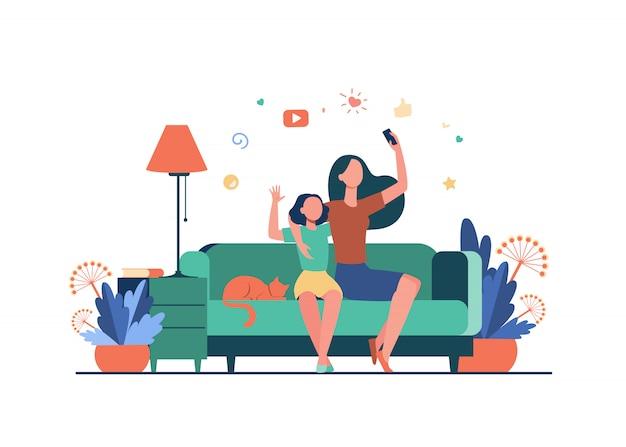 Moeder en dochter vrijetijdsconcept