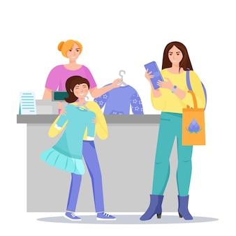 Moeder en dochter winkelen. gelukkig meisje met nieuwe jurk in haar handen. vector illustratie