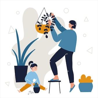 Moeder en dochter zorgen samen voor hun kamerplanten. blijf thuis familie activiteiten concept. hand getekend abstracte vectorillustratie.