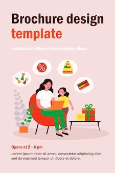 Moeder en dochtertje meisjes verjaardagsfeestje voorbereiden. moeder kopen taart en geschenken online vlakke afbeelding. winkelen, viering concept