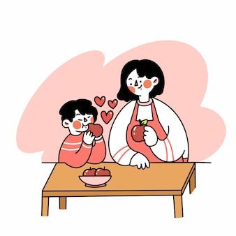 Moeder en haar zoon die appel samen eten doodle illustratie