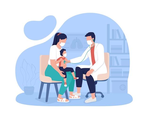 Moeder en kind afspraak bij ziekenhuis 2d vector geïsoleerde illustratie. pediatrische kantoorbezoek platte tekens op cartoon achtergrond. wel baby check-up. bezoek aan de kleurrijke scène van de eerstelijnsarts