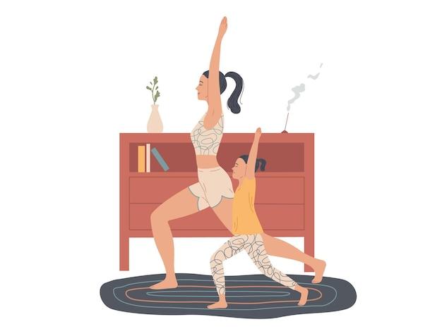 Moeder en kind beoefenen thuis yoga, doen een krijgerhouding.