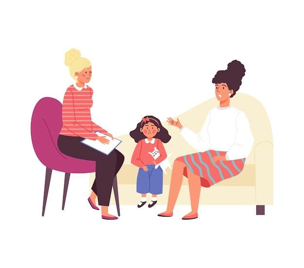 Moeder en kind bij de receptie van psycholoog plat geïsoleerd