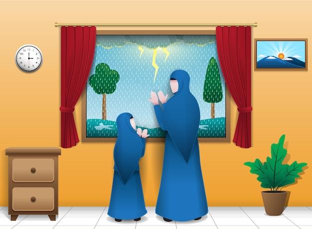 Moeder en kind die tijdens hevige regen aan het bidden waren