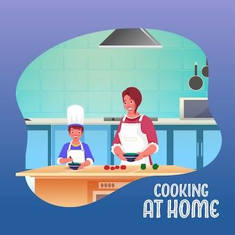 Moeder en kind koken samen