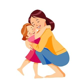 Moeder en kind. moeder knuffelt haar dochter met veel liefde en tederheid