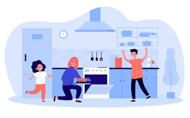 Moeder en kinderen bakken samen cake in de keuken. vrouw die taart uit de oven haalt, gelukkige zoon en dochter platte vectorillustratie. familie, ouderschap, culinair concept voor banner, website-ontwerp