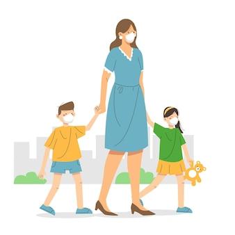 Moeder en kinderen die beschermingsmaskers dragen