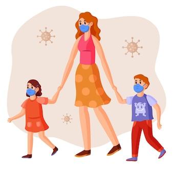 Moeder en kinderen dragen van medische maskers buitenshuis
