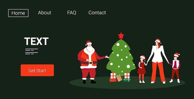 Moeder en kinderen staan met de kerstman in de buurt van fir tree vrolijke kerstvakantie viering concept illustratie