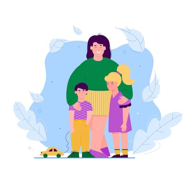 Moeder en kinderen stripfiguren knuffelen vector illustratie geïsoleerd ouder en kinderen omarmen op decoratieve bloemen achtergrond.