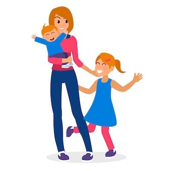 Moeder en kinderen