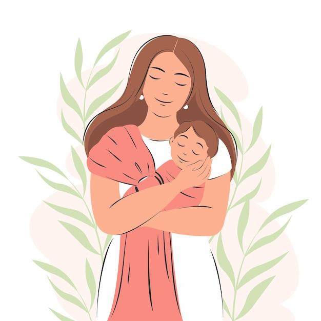 Moeder en pasgeboren baby portret versierd met planten moederschapsconcept en gezinnen
