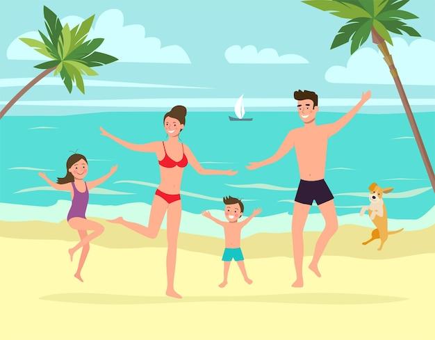 Moeder en vader met kinderen en hond springt. tropisch landschap. vector illustratie
