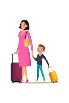 Moeder en zoon met bagage