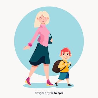 Moeder en zoon op weg terug naar school