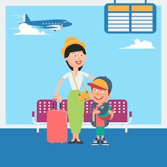 Moeder en zoon wachten tot vertrek naar de vakantie op de luchthaven. vector illustratie