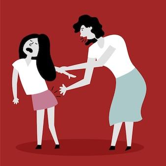 Moeder geeft haar dochter een pak slaag kindermishandeling