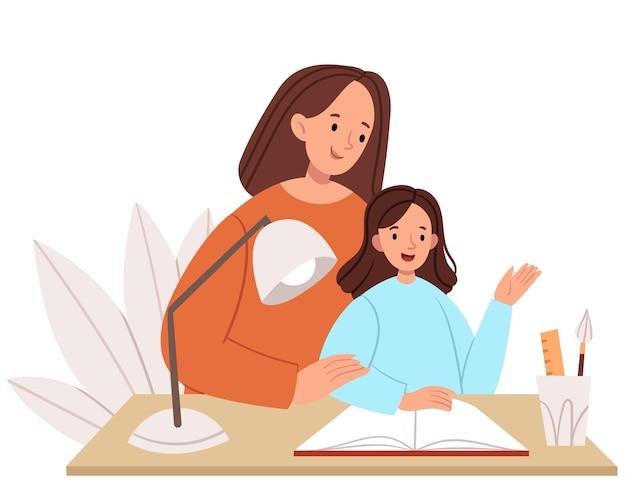 Moeder geeft lessen met haar dochter. thuisonderwijs. het gezin brengt tijd samen door.
