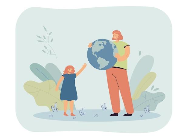 Moeder geeft wereldbol aan dochter