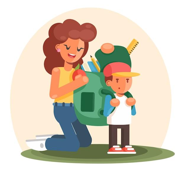 Moeder helpt haar kind schooltas voorbereiden. cartoon vlakke stijl