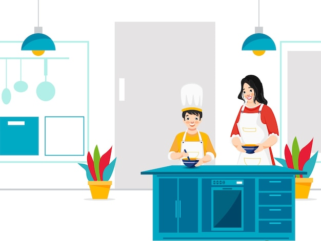 Moeder helpt haar zoon thuis in de keuken koken. kan als poster gebruikt worden.