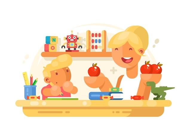Moeder helpt kleine zoon met huiswerk. jonge moeder en jongen. illustratie
