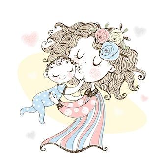 Moeder houdt haar baby in haar armen. moederdag.