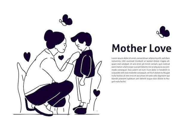 Moeder houdt van haar zoon met de hand getekende illustratie