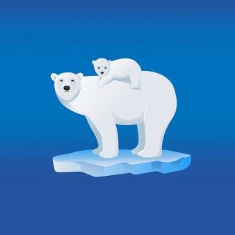 Moeder ijsbeer met haar baby op de rug, stripfiguur.