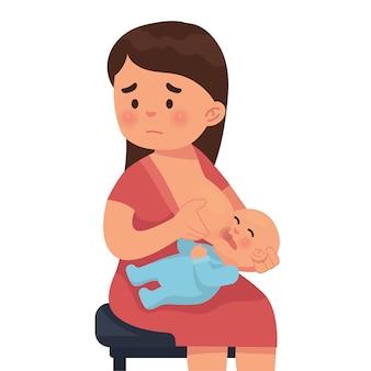 Moeder is verdrietig omdat ze haar baby geen borstvoeding kan geven