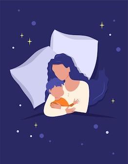 Moeder knuffelt het kind, samen slapend op een kussen bedekt met een deken. moederschap
