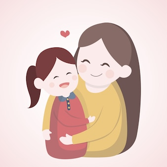 Moeder knuffelt met haar dochter