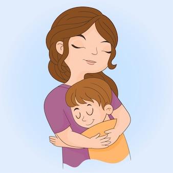 Moeder knuffelt zoon